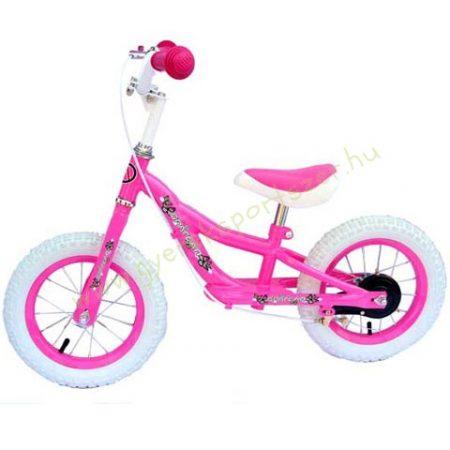 Tanuló kerékpár, futóbicikli fékkel, pink lány
