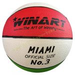Kosárlabda Winart Miami 3-as méret piros-fehér-zöld